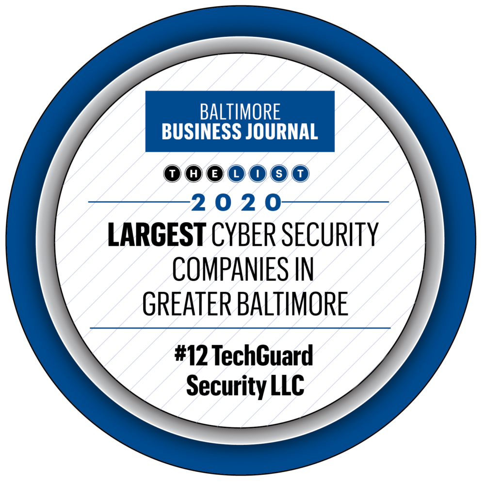 Graphic button showcasing TechGuard Security ranked number 12 on the list for largest cybersecurity companies in greater Baltimore