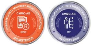 badges showcasing techguard's certification as an RPO for cmmc